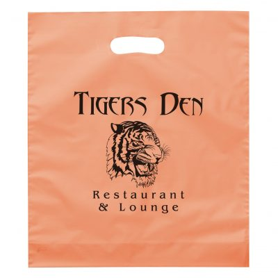 Rose™ Frosted Brite Die Cut Handle Bag (Flexo Ink)